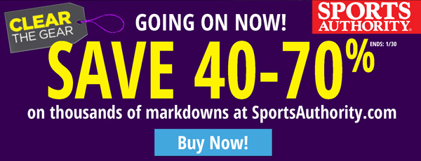 The Sports Authority: save 40-70% at markdowns