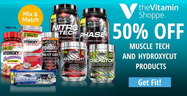 The Vitamn shop: 50% off muscle tech