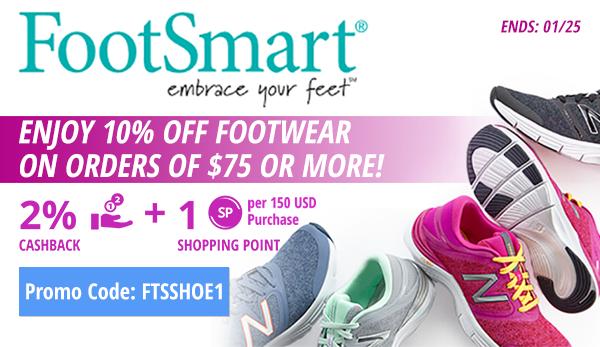Footsmart: Enjoy 10% off footwear on orders of $75 or more!