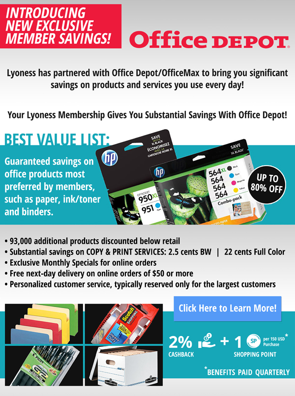 Lyoness has partnered with Office Depot to bring you significant savings!