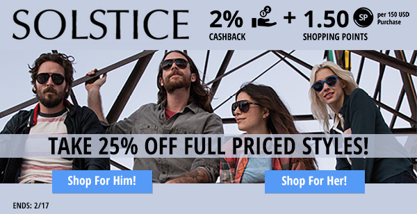 Solstice: Take 25% off full priced styles (exclusions apply)