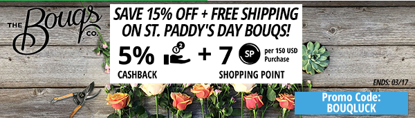 The Bouqs: Save 15% off + Free Shipping on St. Paddy's Day Bouqs!
