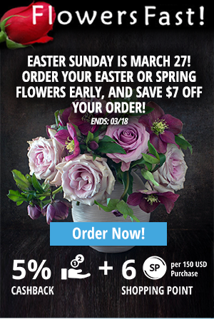 Flowers Fast: Easter Sunday is March 27! Order your Easter or Spring flowers early, and save $7 off your order!