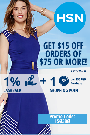 HSN: Get $15 off orders of $75 or more!