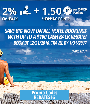 Save big NOW on all hotel bookings with Up to a $100 Cash Back Rebate! Book by 12/31/2016, Travel by 1/31/2017.