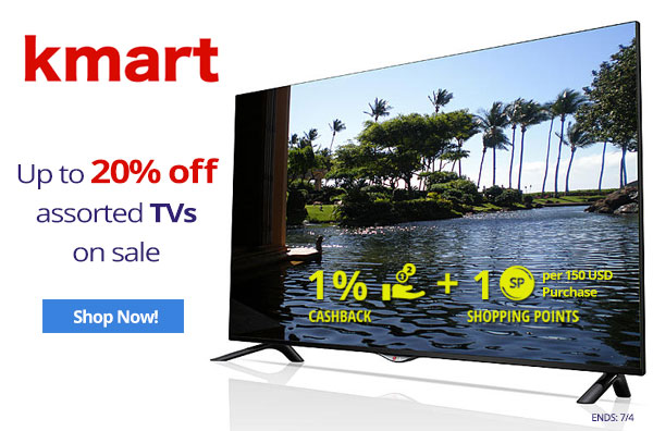 Kmart: Up to 20% off assorted TVs on sale