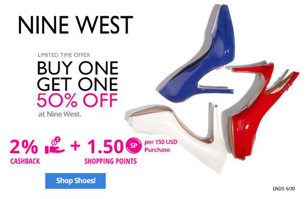 Nine West: Buy 1, get 1 50% off at Nine West