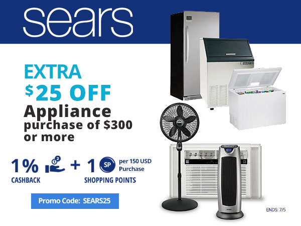 Sears: Extra $25 off appliance purchase of $300 or more