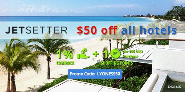 Jetsetter: $50 OFF All Hotels