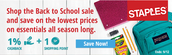 Staples: Shop the Back to School sale and save on the lowest prices on essentials all season long.