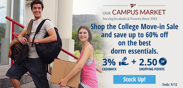 Campus Market: Shop the College Move-in Sale and save up to 60% off on the best dorm essentials.
