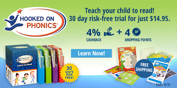 Hooked on Phonics: Teach you child to read! 30 day risk-free trial for just $14.95 and receive free shipping.