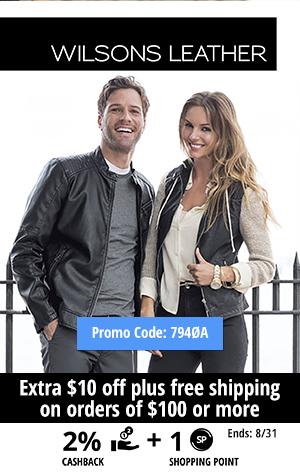 Wilsons Leather: Extra $10 off plus free shipping on orders of $100 or more