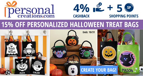 Personal Creations: 15% off personalized Halloween treat bags