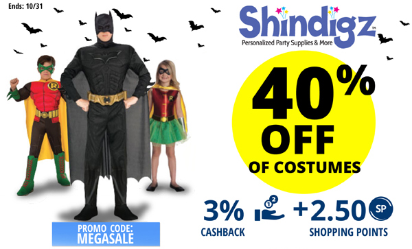 Shindigz: receive 40% off of costumes.