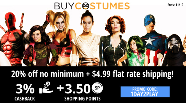 Buycostumes.com: 20% off no minimum + $4.99 flat rate shipping!