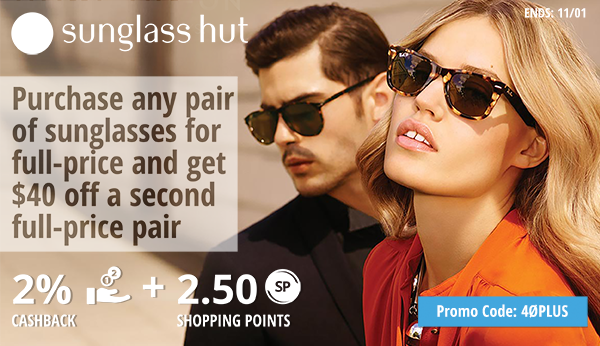 sunglasshut.com: Purchase any pair of sunglasses for full-price and get $40 off a second full-price pair.
